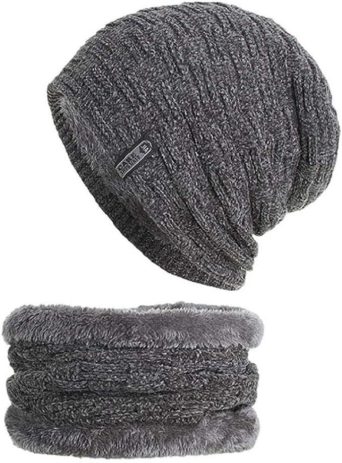Herren Stern Mütze Wintermütze gefüttert schwarz blau und grau Slouch Beanie