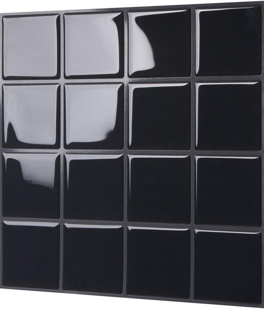 Adhesivo adhesivo para azulejos de pared Tic Tac Tiles color negro 5 hojas, autoadhesivo