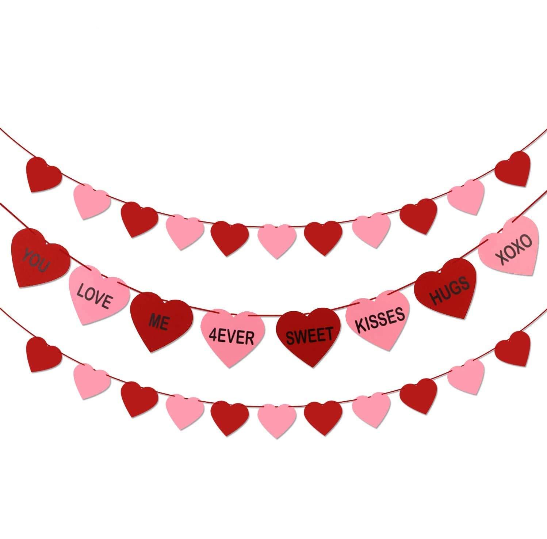 Valentine decor Hot pink red and light pink felt lips banner party decor photo prop 7 feet long Felt hot lips garland