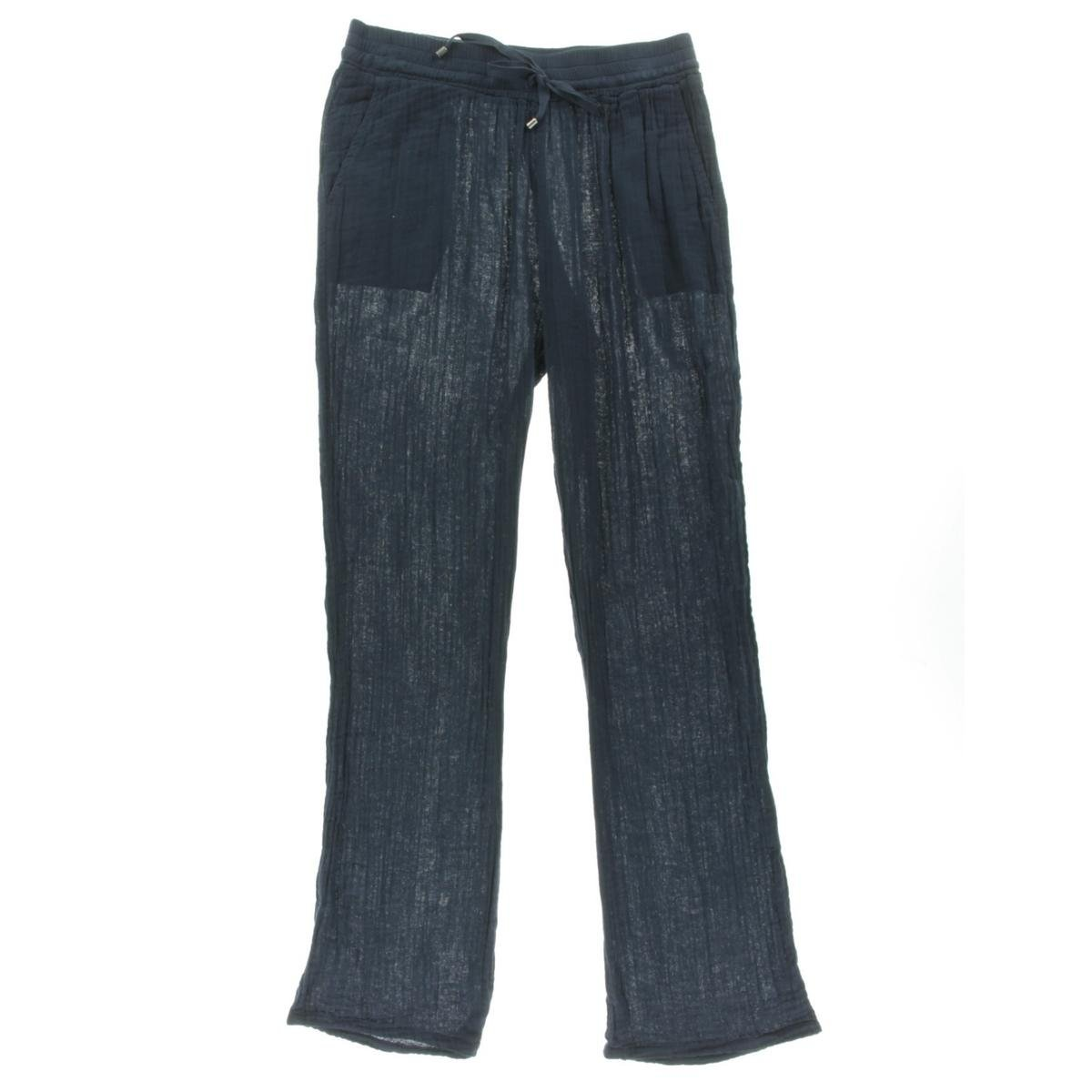 Three Dots Womens Crinkled Bootcut Lounge Pants Navy XS