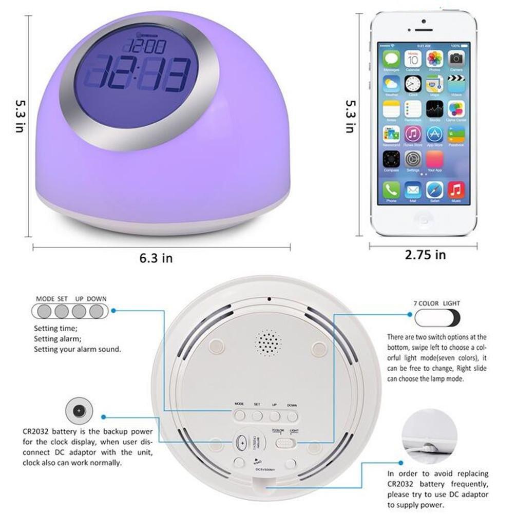 ELEGENCE-Z LED Colorido Reloj Despertador Reloj Digital Reloj electrónico Reloj Creativo Regalo electrónico Creativo Luz de Despertador para niños Regalos ...