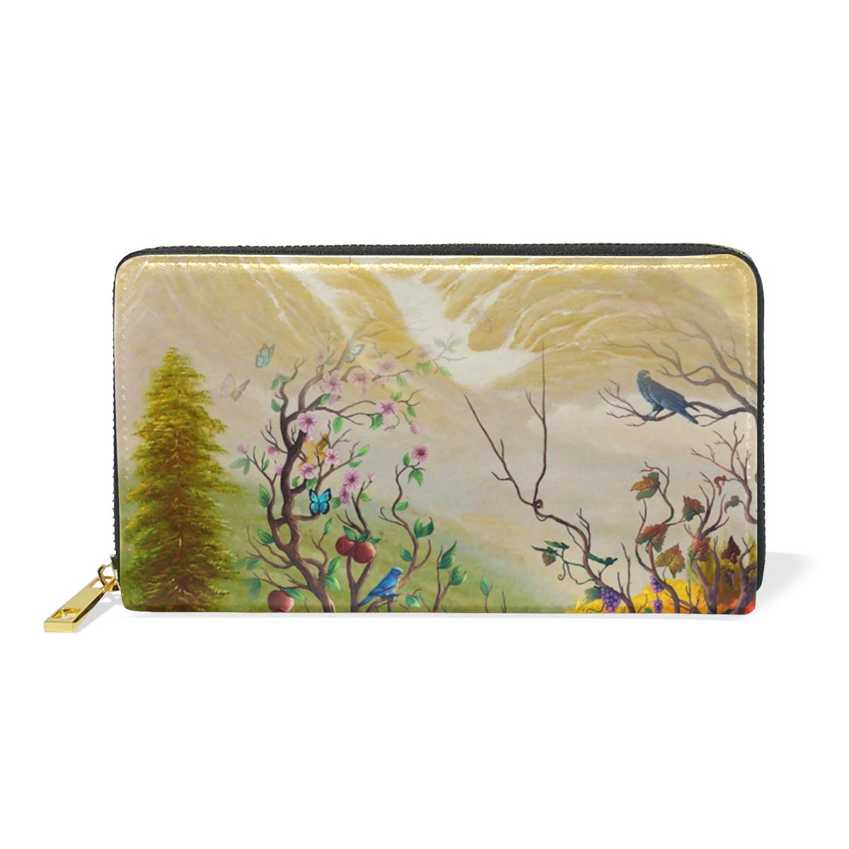 color3 SHANGLONG Fashion Leather Women Illustration Tree Print Wallet Long Clutch Zipper Purse for Girl Card Holder Handbag