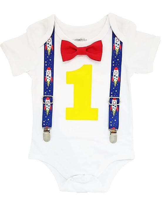 fe8e2304f98d Amazon.com: Noah's Boytique Boys First Birthday Party Cake Smash Theme  Outfit: Clothing