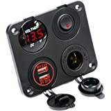 Cllena Dual USB Socket Charger 2.1A&2.1A + LED Voltmeter + 12V Power Outlet + ON-OFF Toggle Switch Four Functions Panel for Car Boat Marine RV Truck Camper Vehicles GPS Mobiles (Red)