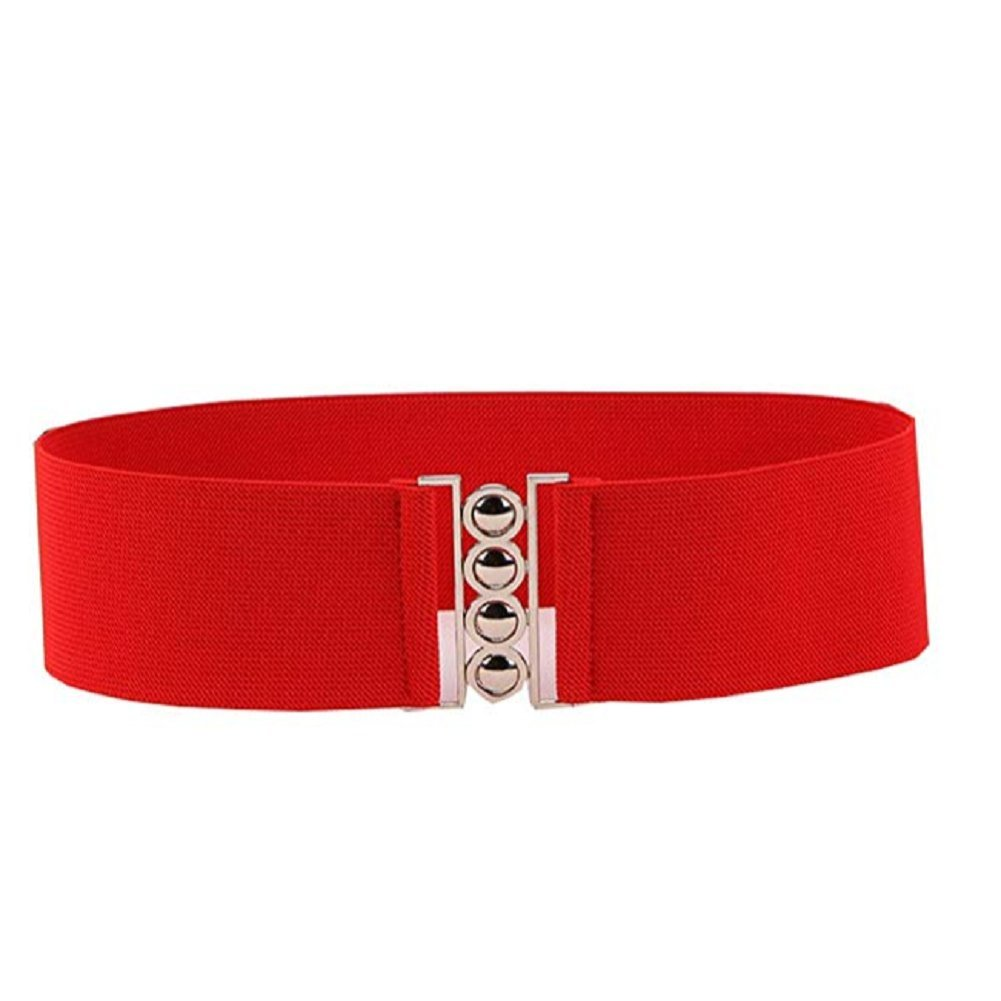Women Waist Belt Lady Elastic Cinch Belt Vintage Colorful Stretch Waist Belt (White)