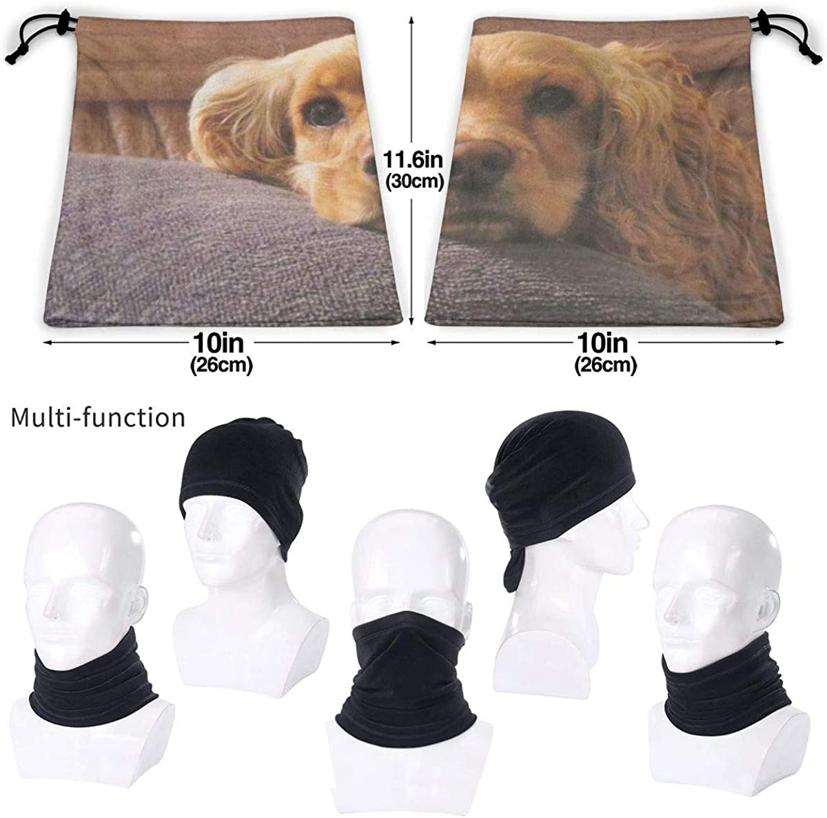 Cute Cocker Spaniel Neck Scarf Bandana Face Mask Motorcycle Cycling Riding Running Headbands