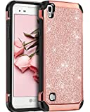 virgin lg tribute - LG Tribute HD Case, LG X Style Case, LG Volt 3 Case,BENTOBEN Glitter Bling Slim Hybrid Soft Rubber Hard Cover Sparkly PU Leather Protective Phone Case for LG Tribute HD/X Style /Volt 3/LS676,Rose Gold