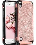 LG Tribute HD Case, LG X Style Case, LG Volt 3 Case,BENTOBEN Glitter Bling Slim Hybrid Soft Rubber Hard Cover Sparkly PU Leather Protective Phone Case for LG Tribute HD/X Style /Volt 3/LS676,Rose Gold