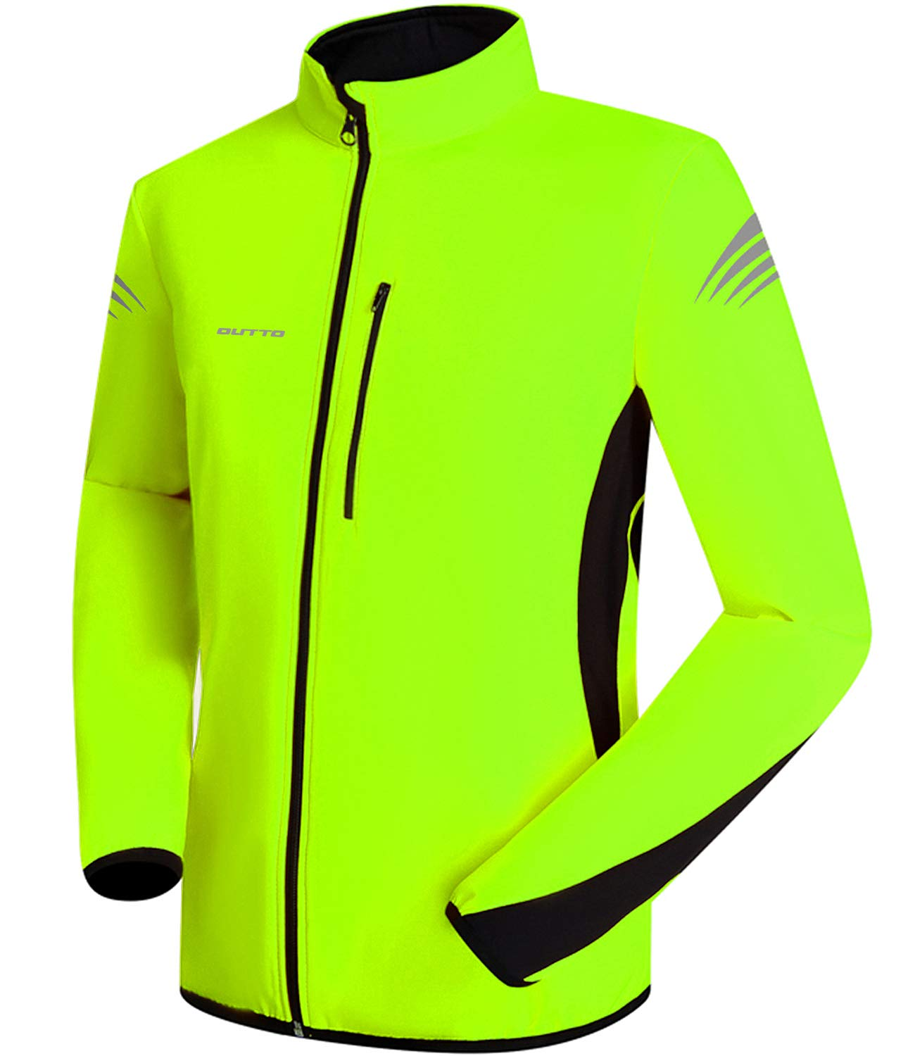 OUTTO Men's Winter Thermal Cycling Jacket Reflective Water Resistant Windbreaker(Large, 16001 Fluorescent Green) by OUTTO