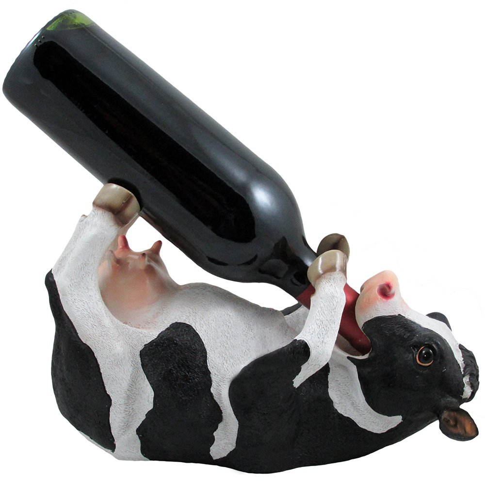 Amazon Com Drinking Cow Wine Bottle Holder Statue In Country Farm Kitchen Bar Decor Wine Stands Racks And Decorative Animal Sculpture Gifts For Farmers