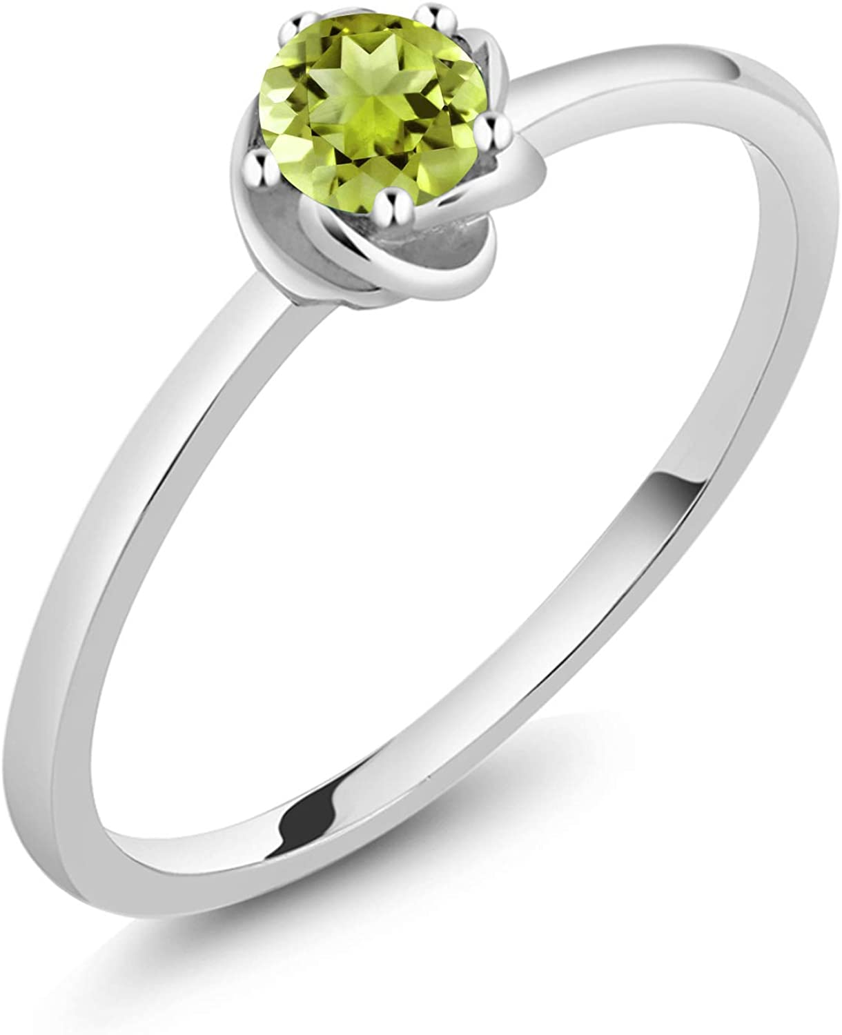 Gem Stone King 10K White Gold Green Peridot Solitaire Engagement Ring 0.18 Ct Round (Available 5,6,7,8,9)