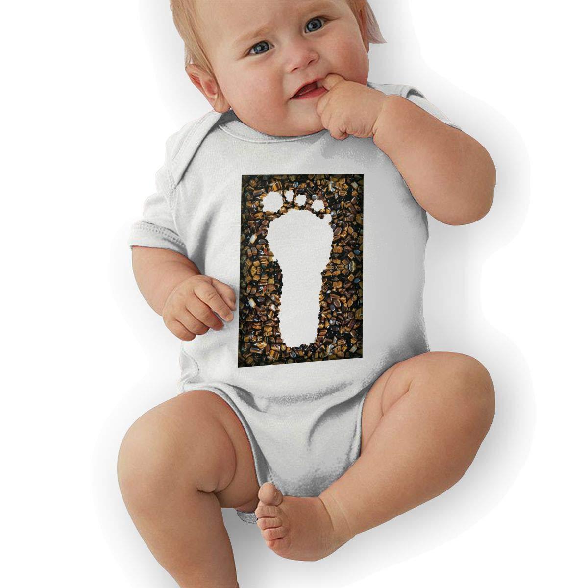 Newborn Baby Boys Bodysuit Short-Sleeve Onesie Creative Footprints Print Outfit Summer Pajamas