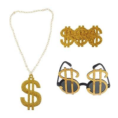 3pcs Golden Dollar Sign Money Pendant Necklace Glasses Ring Men's Funny Pimp Gangster Rapper Fancy Costume Prop: Toys & Games