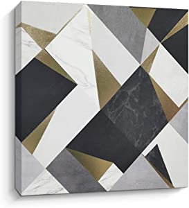 Canvas Wall Art Geometric Abstract Artwork Home Wall Decor Picture Black White Golden Canvas Prints for Living Room Bedroom Decorations (A)