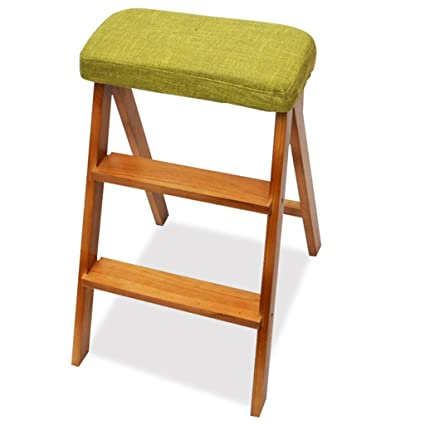 Ladder Chair Kitchen Step Stool Seat Foldable Multifunction Portable  Household High Wooden Bench (Color :