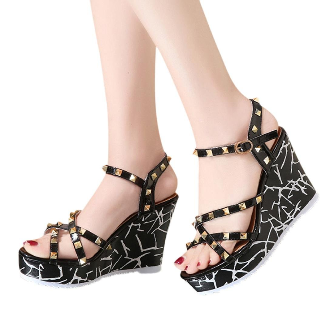 Clearance Summer shoes,AIMTOPPY Women Wedge Sandals Word Buckle High Heel Open Toe Fashion Studded Sandals (US:5, Black)