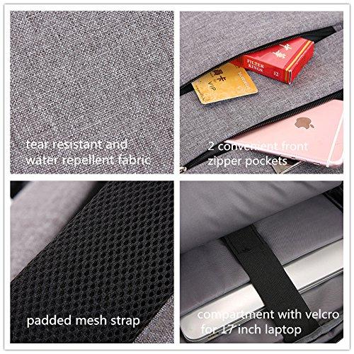 GZHOUSE 17 Zoll Laptop Rucksack wasserdicht Rucksack Travel Business Backpack Casual Daypack für Arbeit, Schule, Reisen, Freizeit (Grau) Grau