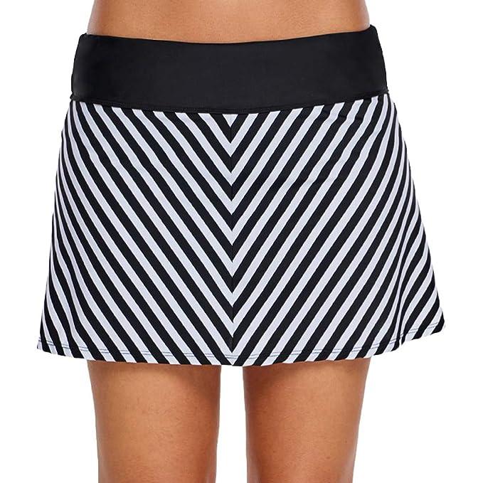 LAUSONS Traje de baño Mujer bañadores con Falda Shorts de baño ...