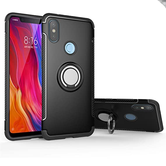 Xiaomi Mi A2 Lite Case, Mingwei [with 360 ° Kickstand] Rotating Ring Case  [Dual Shockproof] Protection Cover Compatible with [Magnetic Car Mount] for