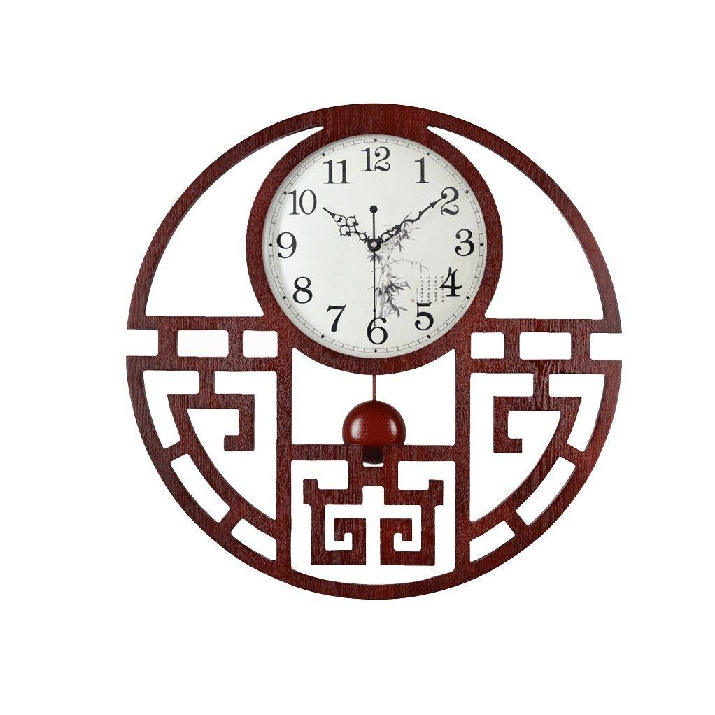 掛け時計 中国スタイルの壁時計振り子の木製20インチのリビングルームの時計大きな時計の創造性人格農村ファッション現代簡単なクォーツ時計直径55cm Rollsnownow B07F35Q7QT