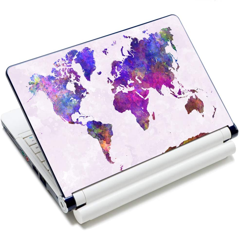 """Laptop Stickers 15.6 inch Decal Skin Sticker Vinyl Removal Cute Funny Notebook Cover Art Fits 13.3"""" 14"""" 15.4"""" 15.6"""" HP Dell Lenovo Apple Mac Asus Acer (map 2)"""