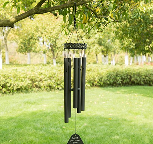 "Agirlgle Wind Chimes Outdoor Large Black 30""Windchimes Garden Amazing Grace with 5 Aluminum Alloy Tubes Tuned Memorial Wind Chimes Indoor, Perfect Decoration for Your own Patio, Porch, Garden, or by Agirlgle (Image #6)"
