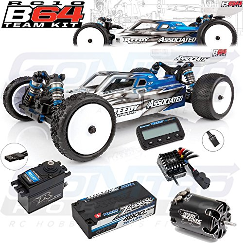 Kit 4wd Electric Buggy (RC10B64 Team Kit Combo Pack w/ ESC, Motor, LiPo Shorty Battery Pack, Servo: ARR Almost Ready To Run 1/10 Scale Competition 4wd Electric Racing Buggy Kit)