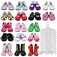 Barwa Gift Set 5 Pairs Random Mix Styles Color Outdoor Shoes + 12 Pcs Clothes Hangers for 18 Inch American Girl Doll