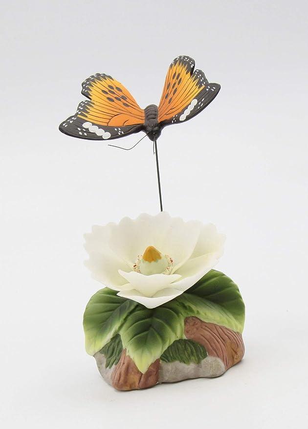 New FINE PORCELAIN Figurine PINK BUTTERFLY MAGNOLIA Statue Figure WHITE FLOWER
