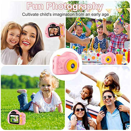 AILEHO Kids Camera for Girls Birthday Holiday Children Digital Video Camera for Kids Age 3 4 5 6 7 8 9 Years Old Toy Gifts Toddler Camera 8M 1080P 8GB Card Mini Toy Camera IPS 2\