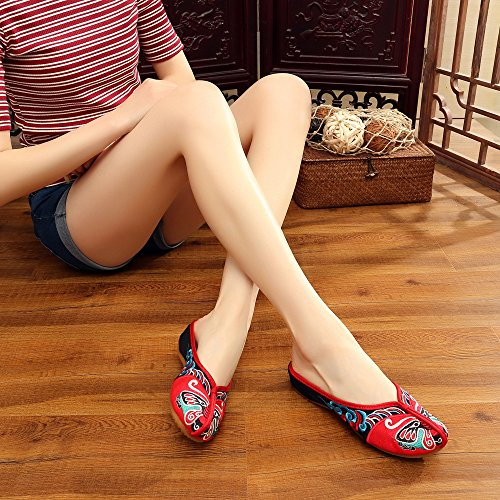 Red Shoes Casual Shoes Mask Beijng Soft Women Opera Embroidery Fanwer Slippers xvSFqT