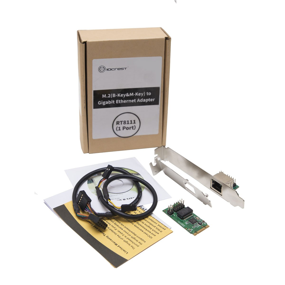 I//O Crest M.2 PCIe Interface Single Port Gigabit Ethernet Modules NIC RealTek RTL8111 Chipset B /& M-Key