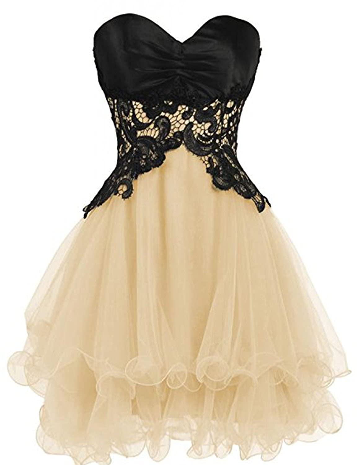 Champagne YIRENWANSHA Sexy Short Homecoming Dress Elegant Satin Knee Length Tulle Prom Party Gown YJW3