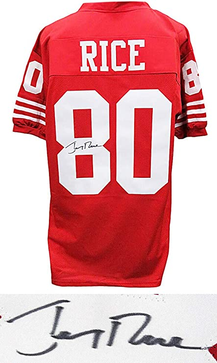 Jerry Rice Signed Red Throwback Custom Football Jersey at Amazon's ...