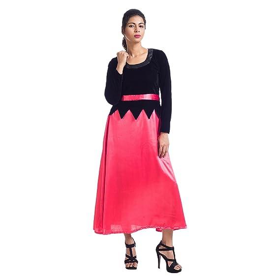 Mamosa Black Velvet & Pink Satin Full Sleeve gown for latest design ...