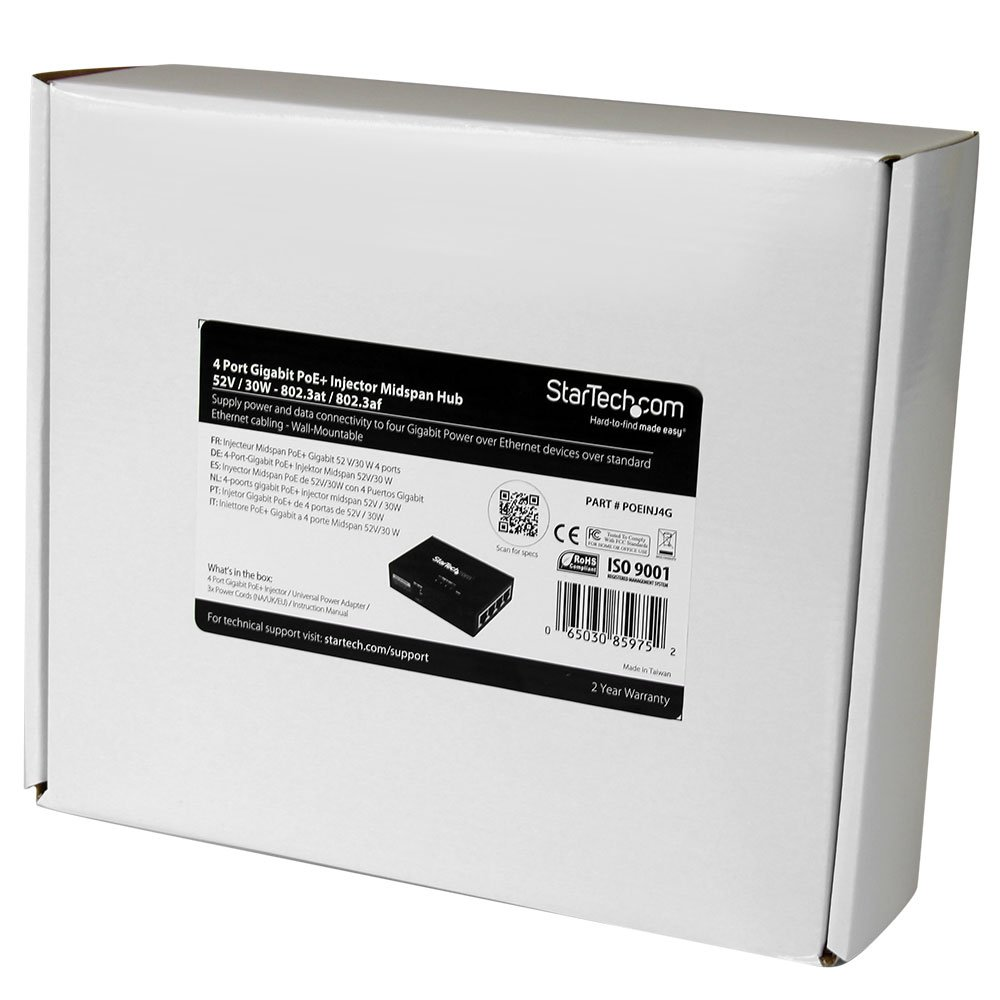 StarTech.com 4 Port Gigabit Midspan PoE+ Injector Wall-Mountable Power Over Ethernet (POEINJ4G) by StarTech (Image #6)