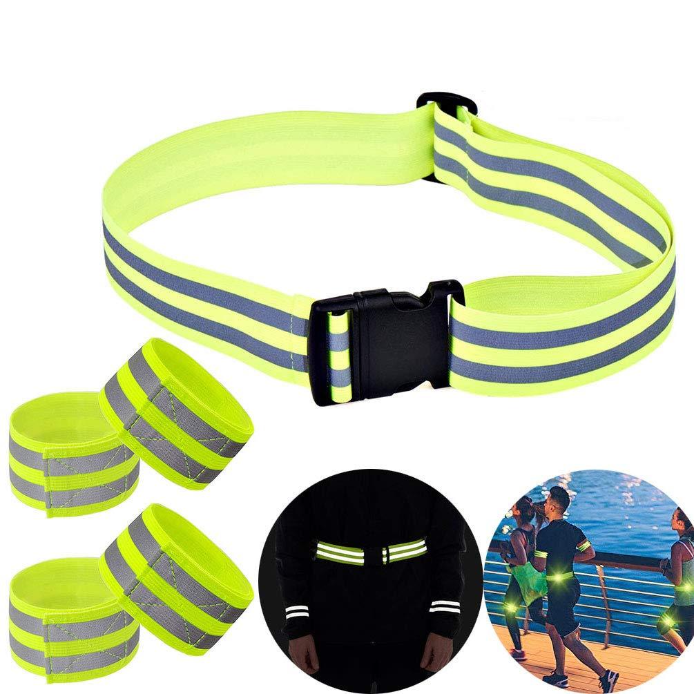 Thread-T Reflektierender Gürtel, elastisches Armband, dehnbares Material für Sicherheit, Laufen, Joggen, Wandern, Radfahren, Hi Vis Belt Sicherheitsausrüstung – Hohe Sichtbarkeit, elastische Armbänder