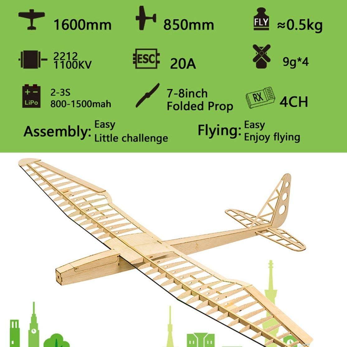 zhouweiwei EP Sunbird Balsa Wood Glider Plane con hélice plegada de 8 Pulgadas 1.6M Wingspan Biplano RC Airplane Model Aircraft Kit/PNP