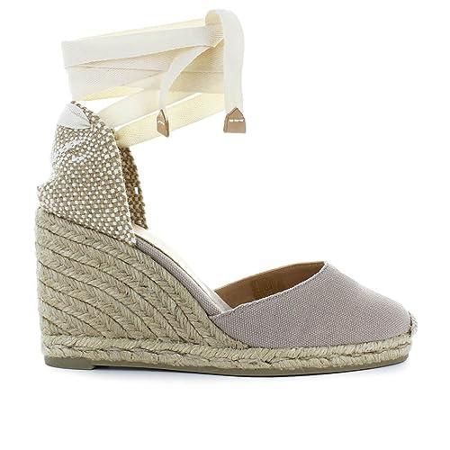 Castañer Zapatos de Mujer Alpargata con Cuña Carina Beige Primavera Verano 2018: Amazon.es: Zapatos y complementos