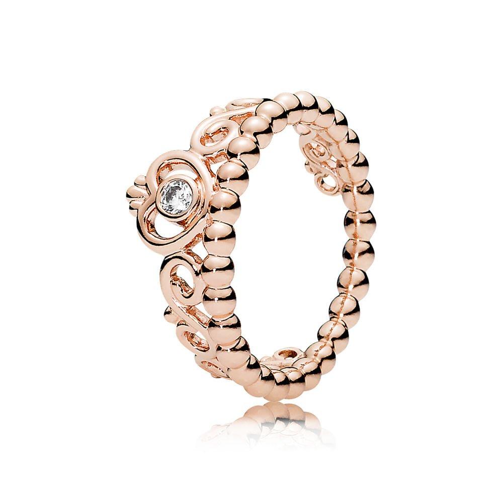 b7b7a4e49133cf Amazon.com: PANDORA My Princess Tiara Ring, Rose & Clear CZ: Jewelry