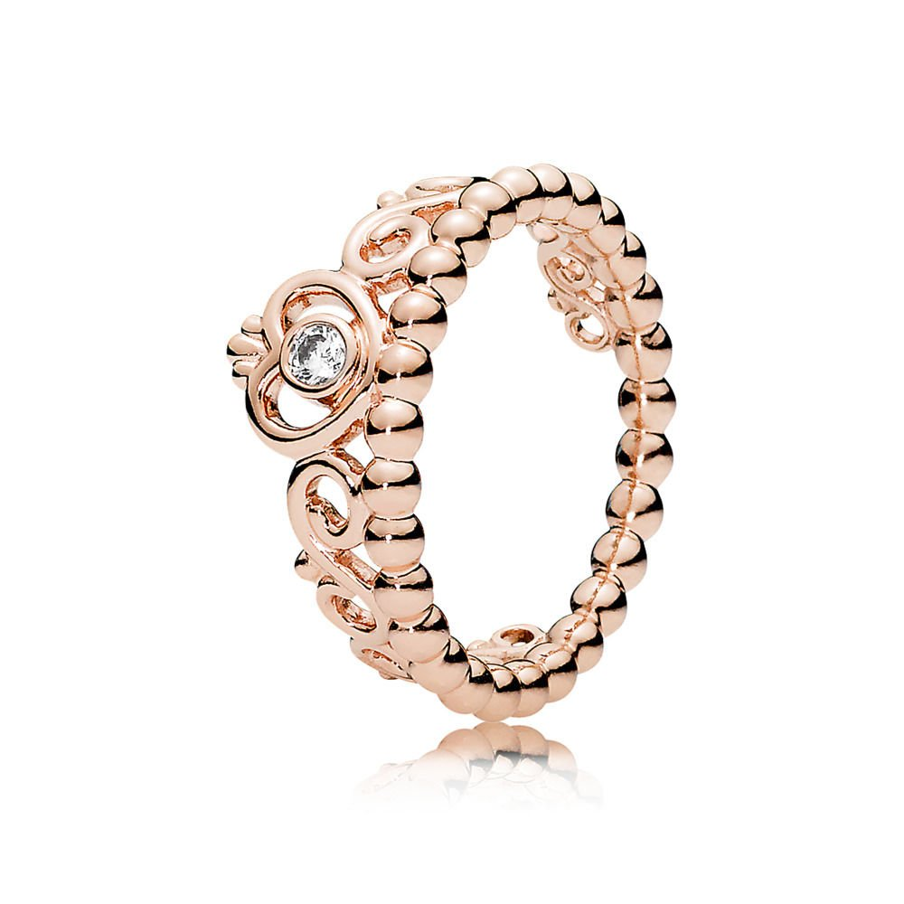 Pandora My Princess Tiara Ring, Pandora Rose, Clear CZ, 7.5-8 US, 180880CZ-56