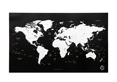 Superior Black And White World Map Unique Design Poster Print Traveler