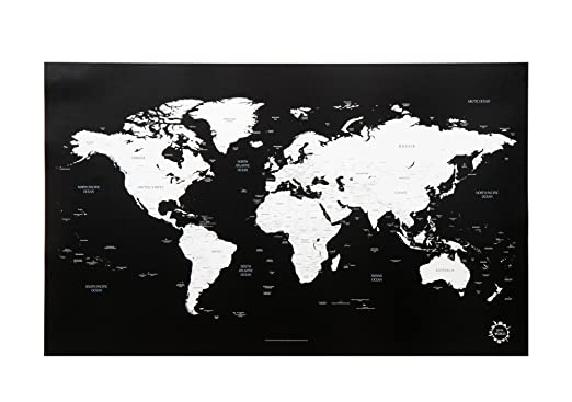 Black and White World Map Unique Design Poster Print Traveler
