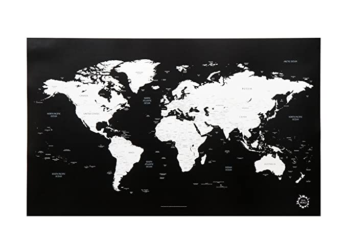 Amazon.com: Black and White World Map Unique Design Poster Print