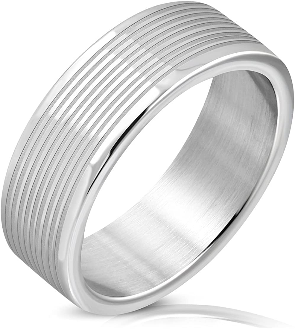Stainless Steel Matte Finished Grooved Striped Flat Band Ring