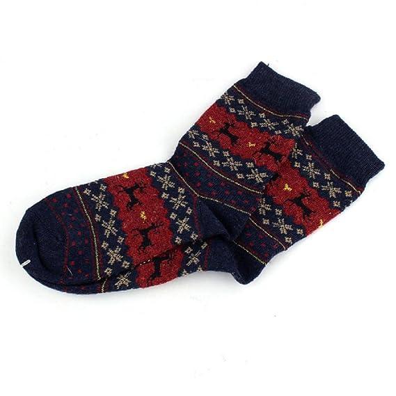 Navidad Calcetines Mujer Termicos Invierno Unisexo Diseño de Ciervo Lana de Punto Cálido para Mujer para Hombre Pila de Calcetines Medias Calcetines de ...