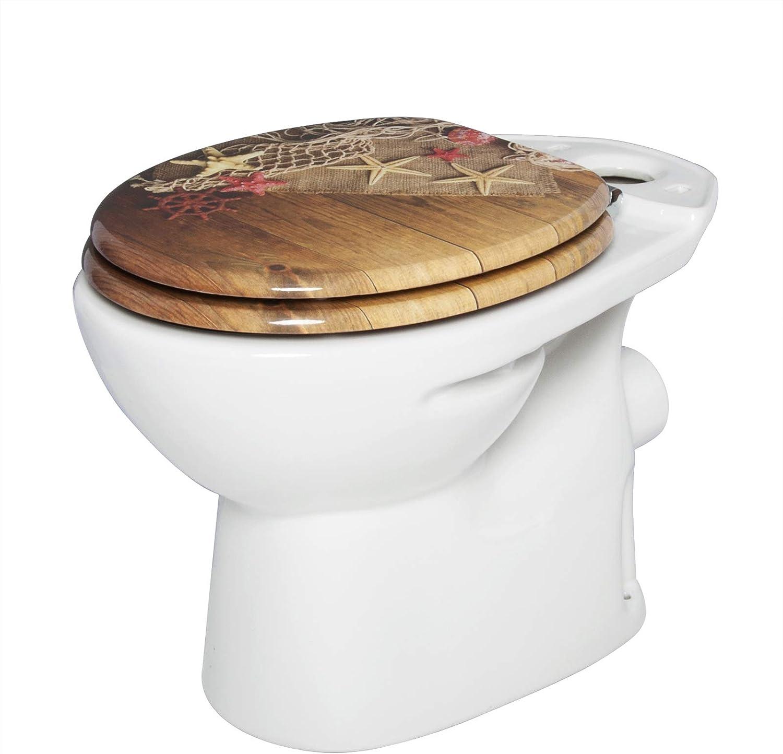 WOLTU WS2647 Abattant WC en MDF,Couvercle de WC Descente progressive,antibact/érien Design charni/ère zingu/ée