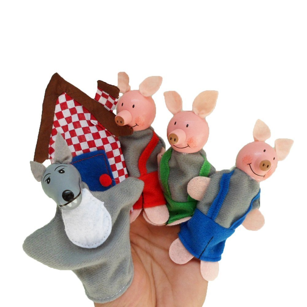 Baidecor 3 Pigs 1 Wolf Finger Puppets