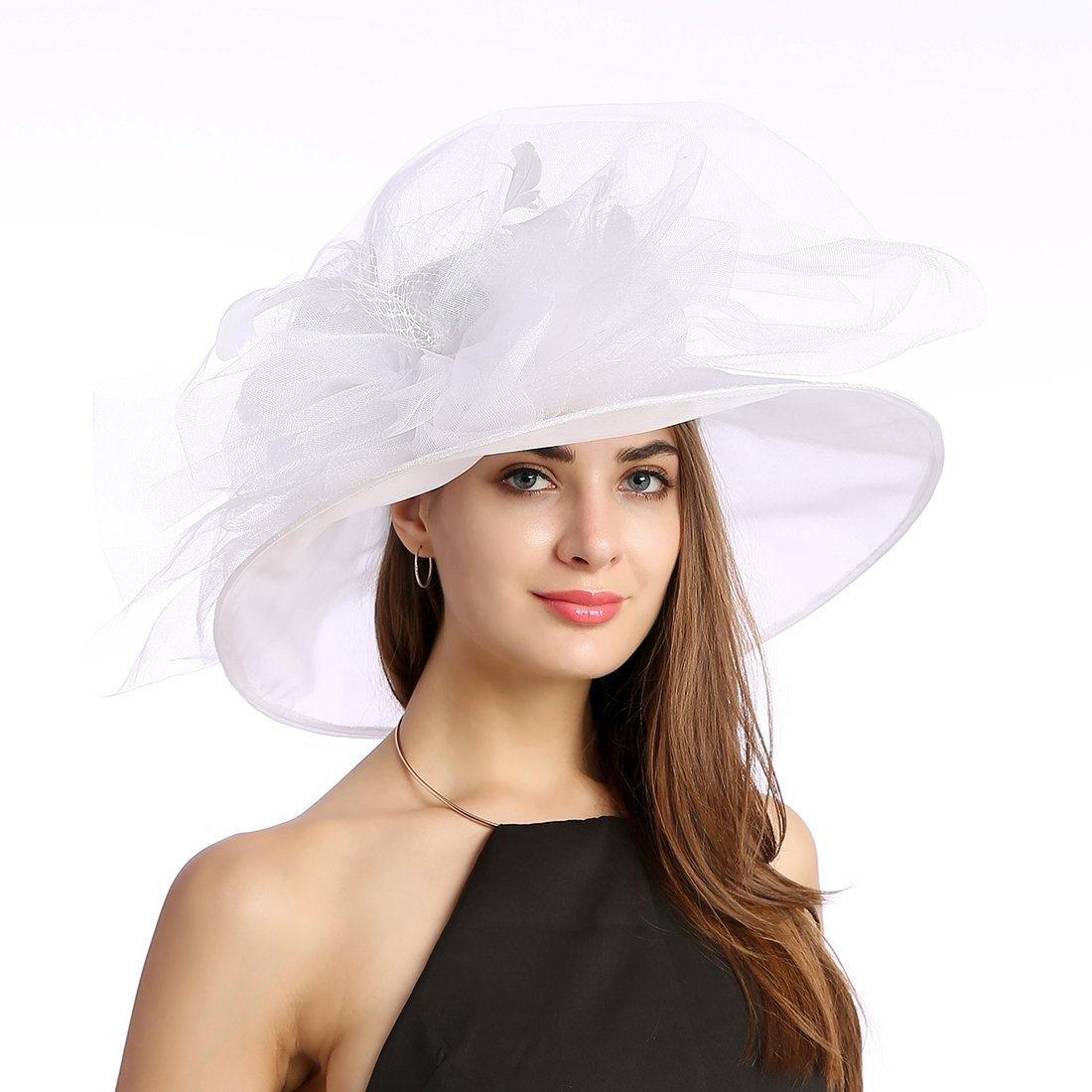 Women's Organza Church Kentucky Derby Fascinator Tea Party Wedding Hat (White Feathers)