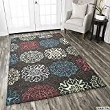 Rizzy Home Eden Harbor Collection Tufted Area Rug, 5' x 8', Multicolor/Grey/Blue/Yellow/Green/Red/Purple